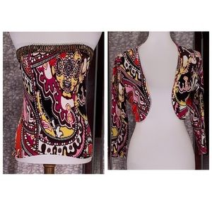 Cache multicolored 2-piece tube top jacket.